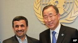 Secretary General of the U.N. Ban Ki-moon (r) meets with President of Iran Mahmoud Ahmadinejad at United Nations Headquarters, Sept. 23, 2012.