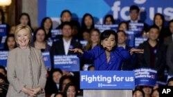 加州華裔民主黨眾議員趙美心2016年1月7日為克林頓助選資料照。