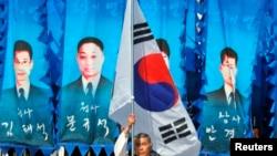 지난해 3월 한국 국립대전현충원에서 천안함 희생자 3주기 추모식이 열리고 있다. 지난 2010년 천안함 폭침 사건과 관련해 한국 정부는 북한에 대해 5.24 조치를 취했다.