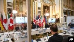 KTT G7 di London, dari kiri: Menlu Kanada Marc Garneau, Menlu Inggris Dominic Raab, Menlu Jepang Motegi Toshimitsu, Perwakilan Tinggi Uni Eropa untuk Urusan Luar Negeri Josep Borell dan Menlu Jerman untuk Urusan Luar Negeri Heiko Mass. (Stefan Rousseau/Pool via AP).