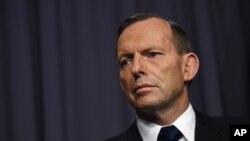 Perdana Menteri Australia Tony Abbott dalam konferensi pers di Canberra, April 2015.
