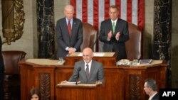 阿富汗总统加尼3月25日在美国国会参众两院联席会议上发表演讲