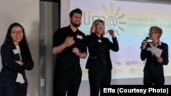 Співдиректори Effa Дар'я Василенко та Ілля Кічук (в центрі) на конкурсі Clim@ у Франкфурті, Німеччина, 25 червня 2018 р.