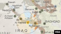 نقشه ای که نفوذ داعش در اطراف رمادی، مرکز استان انبار در عراق را نشان می دهد