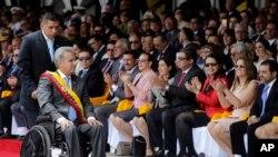 El presidente de Ecuador, Lenín Moreno, asiste a una ceremonia militar por el Día de la Independencia, en Quito. Agosto 10, 2017.