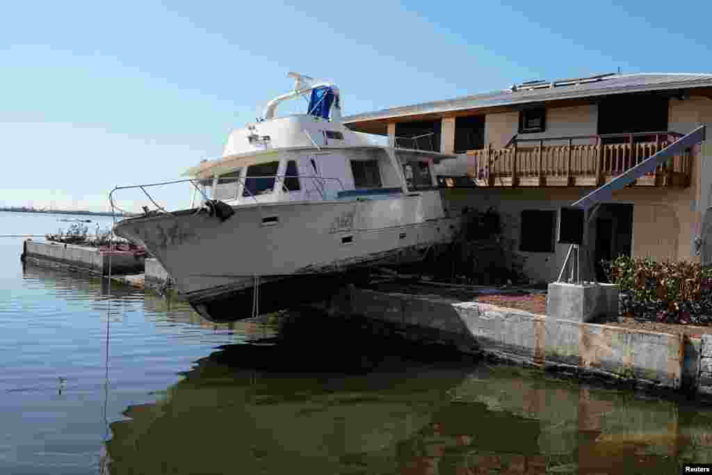 A damaged boat is pictured after Hurricane Irma in Cudjoe Key, Florida, Sept. 17, 2017.