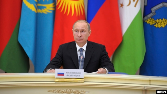 Russian President Vladimir Putin takes part in a meeting of leaders of the Collective Security Treaty Organization in Sochi, Russia, Sept. 23, 2013.