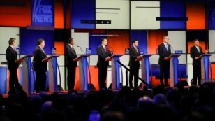 The Republican presidential debate gets underway  at the Iowa Events Center in Des Moines, Iowa, Jan. 28, 2016.