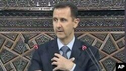 敘利亞總統阿薩德星期三向敘利亞國會發表演說