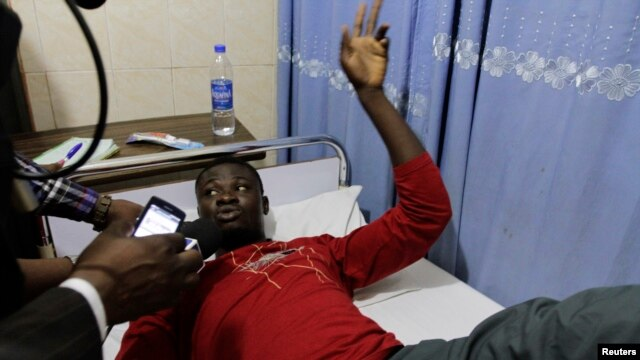 Kieve Sani, a survivor on the boat that capsized off the coast, speaks about his ordeal at the Bakor Medical Centre in Calabar, March 20, 2013.