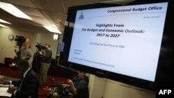 워싱턴에 있는 연방 의회예산국(CBO) 브리핑 현장. (자료사진)