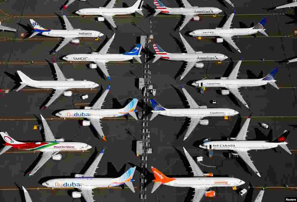 យន្តហោះ Boeing 737 MAX ចតនៅក្នុងទីលាន Boeing Field ក្នុងទីក្រុង Seattle រដ្ឋធានីវ៉ាស៊ីនតោន។