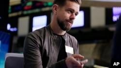 FILE - Twitter's Jack Dorsey is interviewed on the floor of the New York Stock Exchange, Nov. 19, 2015.