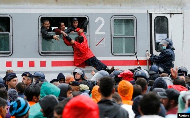 Một cậu bé được kéo lên qua cửa sổ đoàn tàu ở nhà ga Tovarnik, Croatia, ngày 20 tháng 9, 2015.