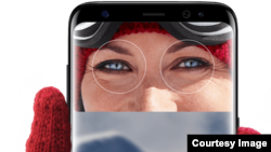 Samsung's new Galaxy S8 phone features iris technology allowing users to unlock their phone by looking at it. (SAMSUNG)