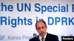 聯合國北韓人權狀況特別報告員托馬斯金塔納在首爾舉行的一個記者會上。(2017年12月14日)