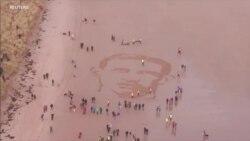 英国海滩出现巨幅图像,纪念一战老兵
