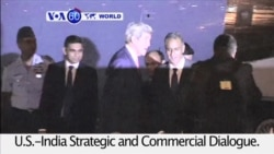 VOA60 World PM - U.S. Secretary of State John Kerry arrives in India for a three-day visit