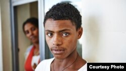 A young cataract patient waits at the Quiha Eye Hospital Vision Center in Mekelle, Ethiopia to see the doctor.