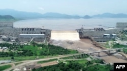 FILE - Water levels are seen at the Grand Ethiopian Renaissance Dam in Guba, Ethiopia, in this frame grab from video obtained from the Ethiopian Public Broadcaster (EBC) on July 20 and July 21, 2020.