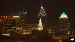 This picture of the Philadelphia Skyline shows some of the building tops lit up in green in a show of support for the Philadelphia Eagles