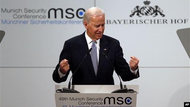 El vicepresidente Joe Biden habló en una conferencia sobre seguridad en Munich, Alemania.