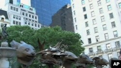 Ai Weiwei sculptures displayed by the Pulitzer Fountain on New York's Fifth Avenue