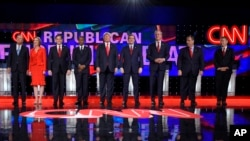 FILE - Republican presidential candidates take the stage during the CNN Republican presidential debate at the Venetian Hotel & Casino on Dec. 15, 2015, in Las Vegas.