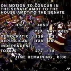 美國國會眾議院就有關減稅法案的投票結果電視畫面