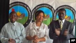 Os três candidatos do MDM às eleições municipais intercalares: da esquerda para a direita Assamo Tique(Pemba) Maria Moreno (Cuamba) e Manuel de Araújo (Quelimane)