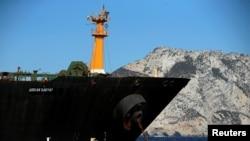 18일 이란 유조선 그레이스 1호가 '아드리안 다르야 1호'로 이름을 바꾸고 영국령 지브롤터 해상에 머물고 있다.