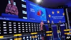 Calon presiden Komisi Eropa, Margrethe Vestager Denmark, memberikan sambutan di Parlemen Eropa, Brussels, Senin, 27 Mei 2019.