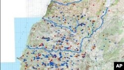 Image released by Israeli Defence Force (IDF) shows a map which is marked to show what Israel says are nearly 1,000 various underground bunkers, weapons storage facilities and monitoring sites built by Hezbollah guerrillas in Lebanon, March 31, 2011
