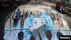 Karya seni tiga dimensi yang menampilkan Presiden Rusia Vladimir Putin dan Presiden AS Barack Obama yang dibuat oleh seniman Eduardo Relero dan ditampilkan di New York. (Foto: Dok)