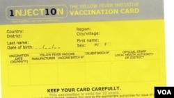 Cartões de vacinação contra febre amarela, Angola