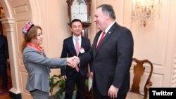 美國國務卿蓬佩奧與維吾爾族女士米娜握手(2019年3月26日) (圖片來自蓬佩奧推特)