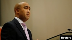 National Director of Public Prosecutions Shaun Abrahams speaks during a media briefing in Pretoria, South Africa, May 23, 2016. Abrahams announced he would challenge a court ruling to reopen a 2007 case against Zuma for 783 charges of fraud, corruption and racketeering.