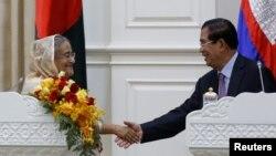 ဘဂၤလားေဒ့ရွ္ ၀န္ၾကီးခ်ဳပ္ Sheikh Hasinaနဲ႔ ကေမၻာဒီယား၀န္ႀကီးခ်ဳပ္ Hun Sen