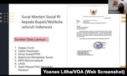 Surat Menteri Sosial RI kepada seluruh bupati dan wali kota yang meminta pengiriman data anak yang kehilangan salah satu atau kedua orang tua akibat COVID-19, Kamis, 12 Agustus 2021. (Foto: Tangkapan Layar)