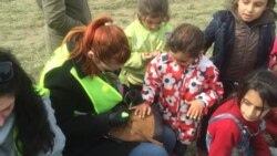 Volunteers painting nails of refugees at Idomeni