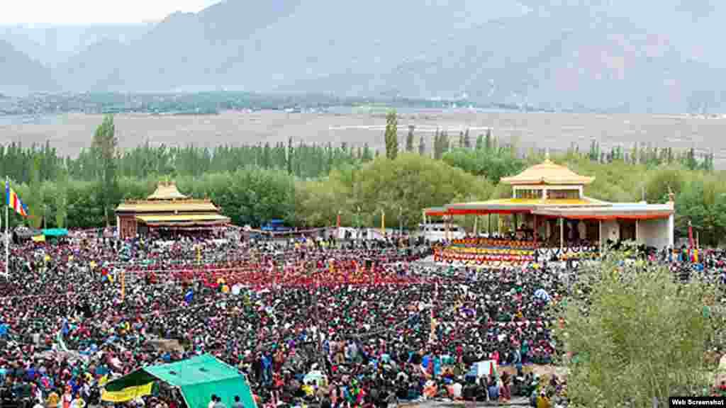 During Tibetan spiritual leader Dalai Lama's teachings in Leh Ladakh