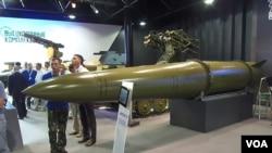 2014俄羅斯國防武器出口展上,伊斯康德爾-M戰術導彈系統所攜帶的導彈。 (美國之音白樺拍攝)