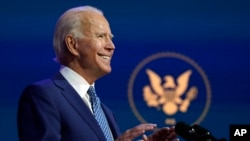 ប្រធានាធិបតីជាប់ឆ្នោតលោក Joe Biden ថ្លែងនៅមហោស្រព The Queen នៅថ្ងៃចន្ទ ទី៩ ខែវិច្ឆិកា ឆ្នាំ២០២០ នៅទីក្រុង Wilmington រដ្ឋ Delaware។