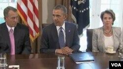奧巴馬就敘利亞議題呼籲國會支持。左為美國會眾議院議長、共和黨籍議員貝納﹐右為眾議院少數黨領袖、民主黨議員佩羅西。