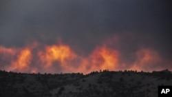 Kebakaran hutan di Prescott, negara bagian Arizona pada 18/6. Pemadam kebakaran terus dikerahkan untuk memadamkan kebakaran hutan di sana.