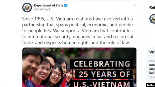 Twitter của Bộ Ngoại giao Hoa Kỳ nhân dịp kỷ niệm 25 năm quan hệ Mỹ - Việt.