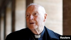 FILE - Then-Cardinal Theodore McCarrick is seen during an interview with Reuters at the North American College in Rome, Italy, Feb. 14, 2013.