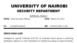 Copy of the terror warning issued to students at University of Nairobi last week. (Click to enlarge)