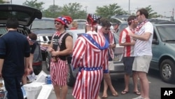 US fans tailgating in the parking lot of Lincoln Financial field before the match, 29 May 2010