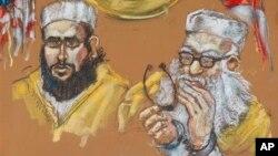 Boceto del imán Hafiz Muhammed Sher Ali Khan (derecha) junto a su hijo en una corte federal de Miami.